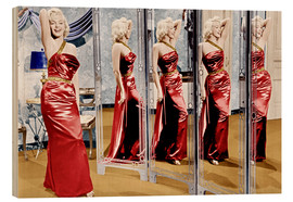 Wood print  Marilyn Monroe in front of mirrors