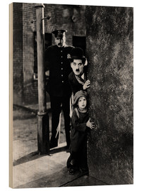 Wood print  Tom Wilson, Charles Chaplin and Jackie Coogan in The Kid