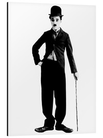 Aluminium print  Charlie Chaplin with walking stick