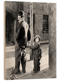 Wood print  The Kid, Charlie Chaplin, Jackie Coogan, 1921