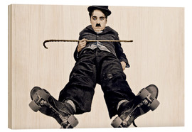 Wood print  Charlie Chaplin with roller skates