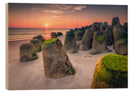 Wood print  Tetrapods at sunset (Hoernum/Sylt) - Dirk Wiemer