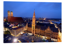 Acrylic glass  Church of our Lady and the new town hall in Munich at night - Buellom