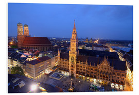 Foam board print  Church of our Lady and the new town hall in Munich at night - Buellom