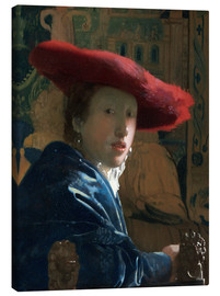 Canvas print  Girl with red hat - Jan Vermeer