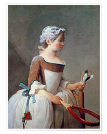 Premium poster  Girl with Racket and Shuttlecock - Jean Simeon Chardin