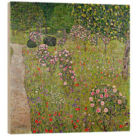 Wood print  Orchard with roses - Gustav Klimt