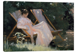 Canvas print  Roses. Marie Krøyer seated in the deckchair in the garden by Mrs Bendsen's house, detail - Peder Severin Krøyer