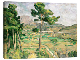 Canvas print  Landscape with viaduct: Montagne Sainte-Victoire - Paul Cézanne
