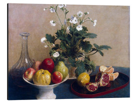 Aluminium print  Flowers, dish with fruit and carafe - Henri de Fantin-Latour