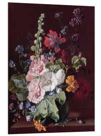 Foam board print  Mallows and other flowers in a vase, 1702-20 - Jan van Huysum