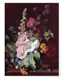 Premium poster Mallows and other flowers in a vase, 1702-20