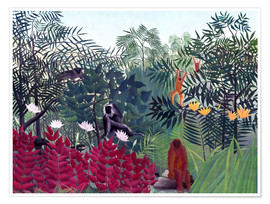 Premium poster Tropical forest with monkeys