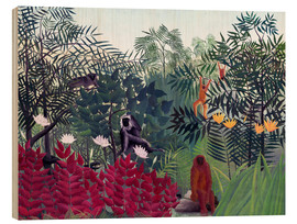 Wood print  Tropical forest with monkeys - Henri Rousseau