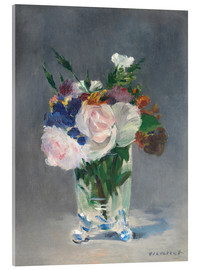 Acrylic print  Flowers in a Crystal Vase - Edouard Manet