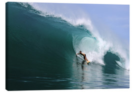 Canvas  Surfing in a huge green wave, tropical island paradise - Paul Kennedy