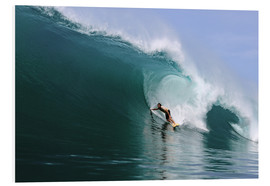 Foam board print  Surfing in a huge green wave, tropical island paradise - Paul Kennedy
