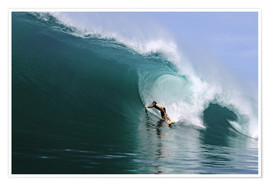 Premium poster  Surfing in a huge green wave, tropical island paradise - Paul Kennedy