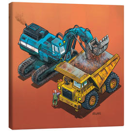 Canvas print  Excavator and trucks - Helmut Kollars