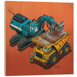 Wood print  Excavator and trucks - Helmut Kollars