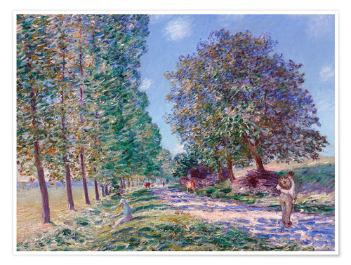 Premium poster Poplar Avenue at Moret on the Loing