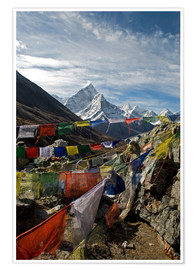 Premium poster  Prayer flags and Ama Dablam - David Noyes