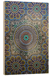 Wood print  Mosaic wall of a fountain - Kymri Wilt
