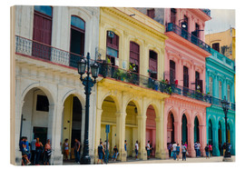 Wood print  Colorful facades in Havana - Bill Bachmann