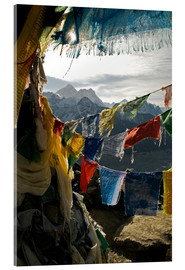 Acrylic print  Prayer flags on the summit of Gokyo Ri - David Noyes