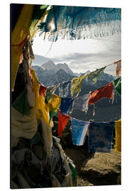 Aluminium print  Prayer flags on the Gokyo Ri - David Noyes