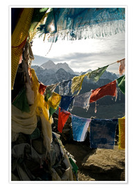 Premium poster  Prayer flags on the Gokyo Ri - David Noyes