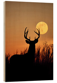 Wood print  Whitetail Deer with full moon - Larry Ditto