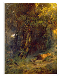 Premium poster Forest landscape with resting pan