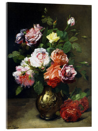Acrylic print  Roses in a vase - Dominique Hubert Rozier