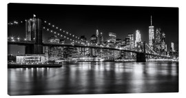 Canvas  Night Skylines NEW YORK II black and white - Melanie Viola