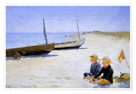Premium poster Two boys sitting in the sunshine on skagen beach
