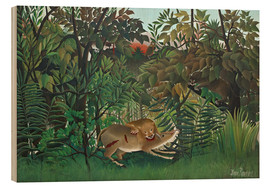 Wood print  The hungry lion - Henri Rousseau