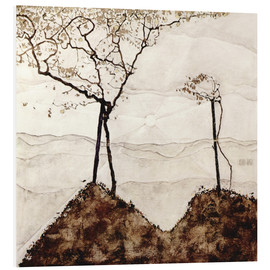Foam board print  Autumn sun and trees - Egon Schiele
