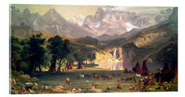 Acrylic glass  Indian camp in the Rockies - Albert Bierstadt