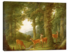 Canvas print  Forest Landscape with Deer, 1760/70 - Johann Andreas Herrlein