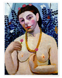 Premium poster Paula Modersohn-Becker as half nude with amber necklace II