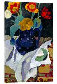 Acrylic print  Still life with tulips in a blue pot - Paula Modersohn-Becker