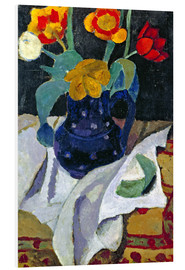 Foam board print  Still life with tulips in a blue pot - Paula Modersohn-Becker