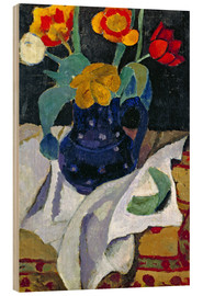 Wood print  Still life with tulips in a blue pot - Paula Modersohn-Becker