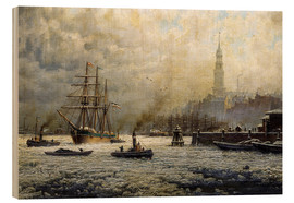 Wood print  The Port of Hamburg, 1893 - Georg Schmitz