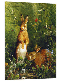 Foam board print  Rabbits in a meadow - Olaf August Hermansen