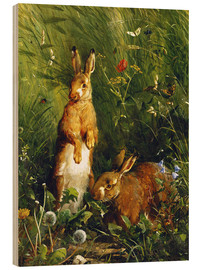 Wood  Rabbits in a meadow - Olaf August Hermansen