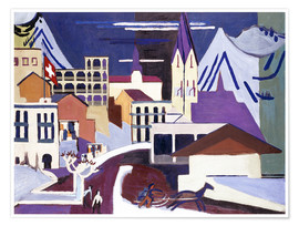 Premium poster  Davos - Square at the station - Ernst Ludwig Kirchner