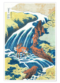 Premium poster  Two men washing a horse at a waterfall - Katsushika Hokusai