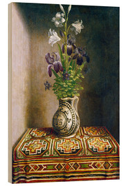 Wood print  Still life with flowers - Hans Memling